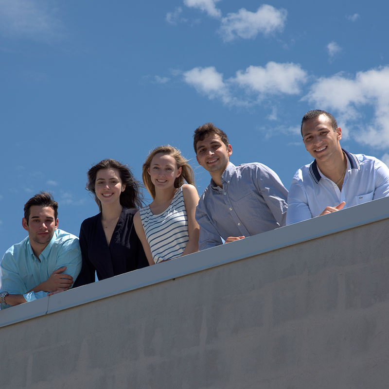 Draper's Red Bull Flugtag team Possibilities Are Coming flight crew members are (left to right) Chace Medeiros, Violet Davis, Sarita Marom, Max Gittelman and Shadi Abujoub. They will launch their flying machine at Flugtag Boston on Aug. 20, 2016, at the D