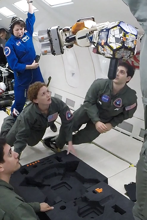 Draper engineer Michele Carpenter, Draper fellow Todd Sheerin, and MIT students demonstrated prototype hardware aboard a recent NASA microgravity flight.