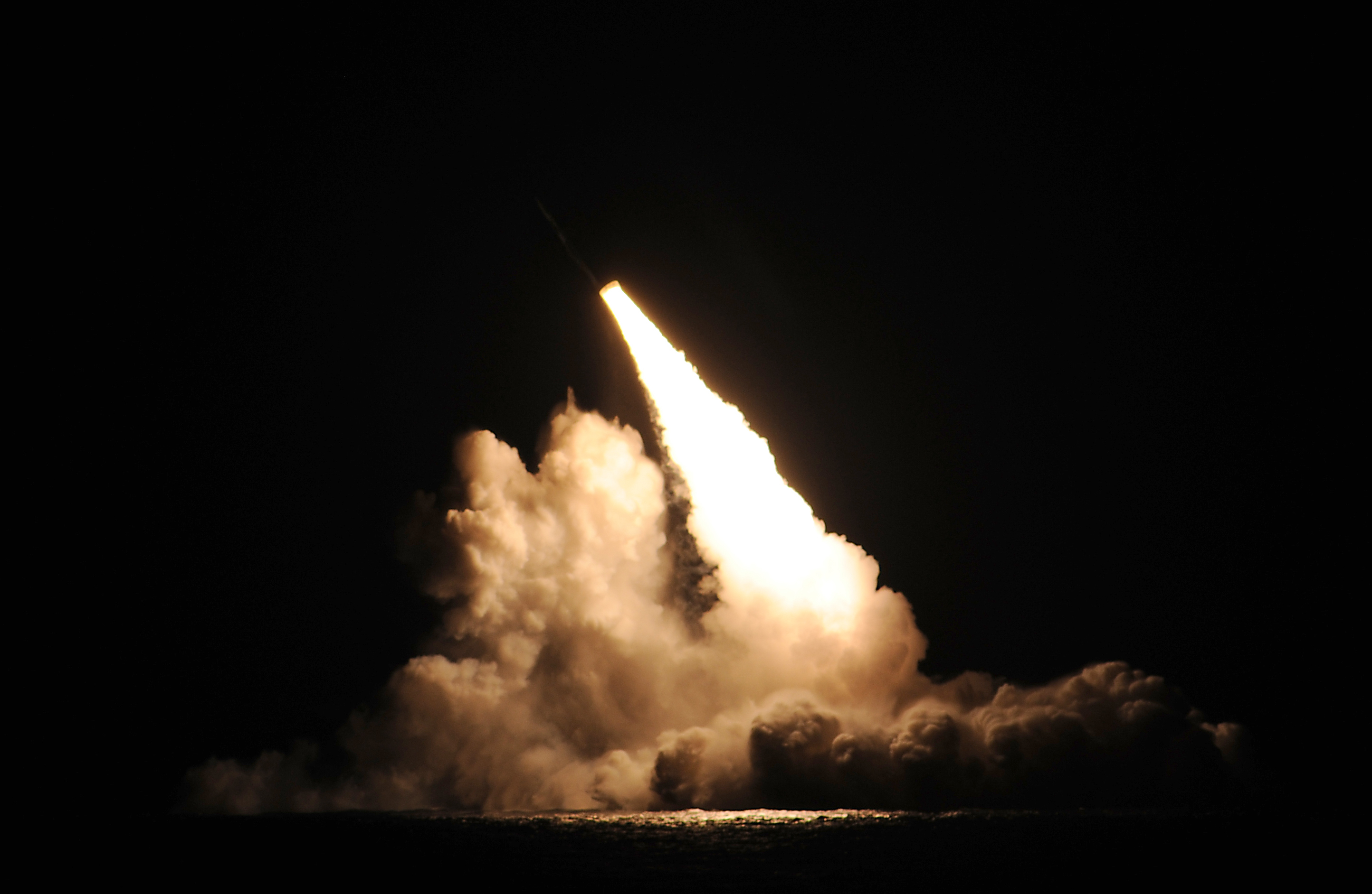 (Navy photo) A Trident II ballistic missile is launched from the USS Kentucky during an unarmed missile test at the Pacific Test Range on Nov. 7.