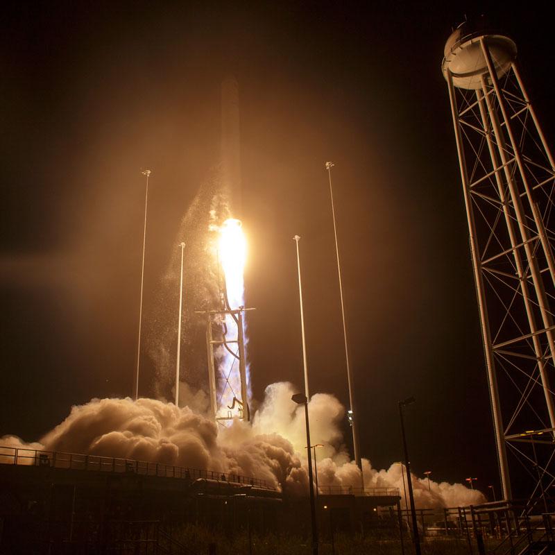 Liftoff of Antares Rocket From NASA Wallops Flight Facility, Virginia. Photo Credit: NASA / Bill Ingalls