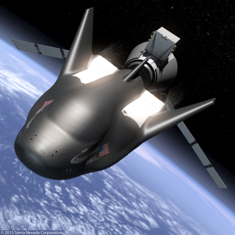 Sierra Nevada Corporation's un-crewed version of the Dream Chaser space glider will be equipped with Draper's GN&C software and flight computer. (Credit: SNC)