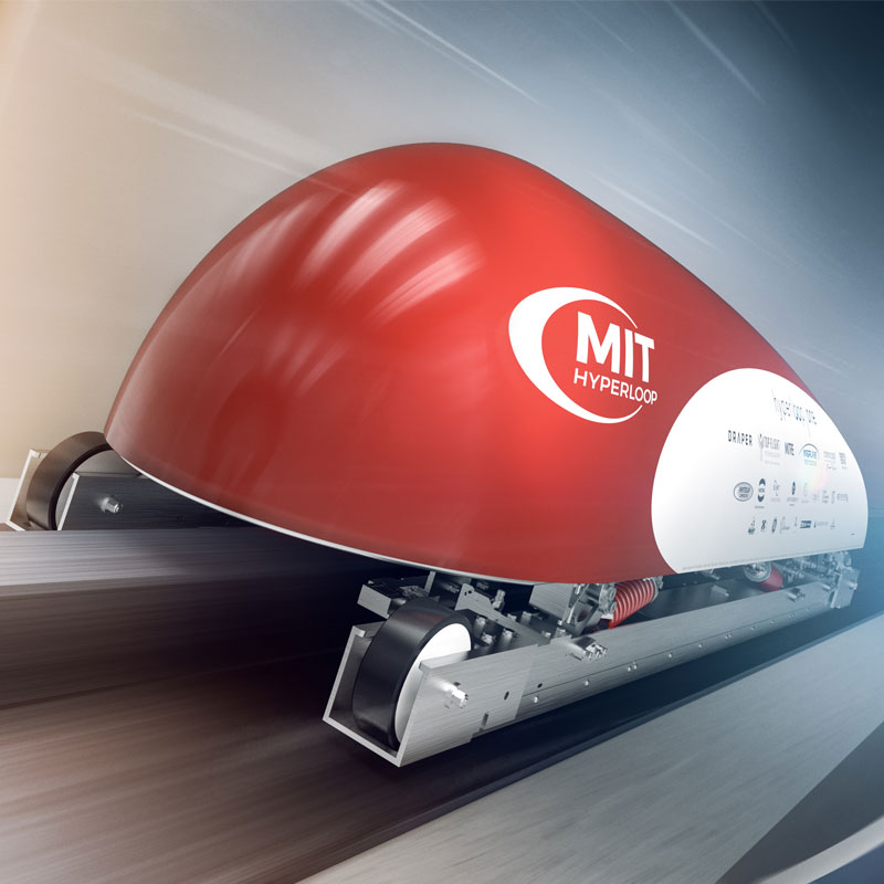 Draper served as mentor and advisor to the MIT Hyperloop Team. The Team won first for design and third overall in the national Hyperloop Pod Competition. Image courtesy of the MIT Hyperloop Team.