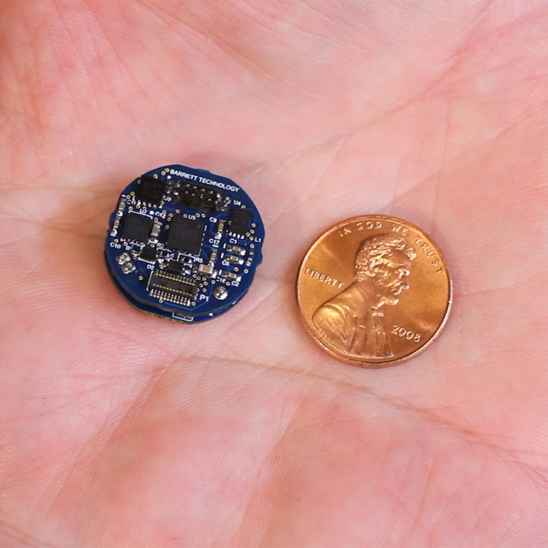 A robot equipped for the rocky terrain of Mars needs space-hardened electronics, like the penny-sized P3 by Barrett Technology's that's currently undergoing evaluation by NASA and simulation tests at Draper. Source: Barrett Technology