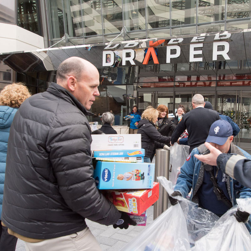Draper continued a 12-year-long holiday tradition of supporting Toys for Tots by raising $10,000 worth of toys.