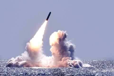 The submerged USS Nebraska launches an unarmed Trident II missile in the Pacific Ocean. (Credit: U.S. Navy)