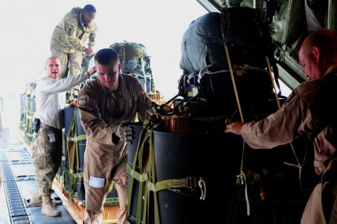 Airdrop has long proved a cornerstone of military and humanitarian missions as a way to deliver food and supplies to areas inaccessible to vehicle convoys. Photo credit: U.S. Air Forces Central Command Public Affairs.
